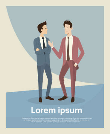asian business people: Asian Business People Talk Businessman Negotiation Retro Poster With Copy Space Flat Vector Illustration Illustration