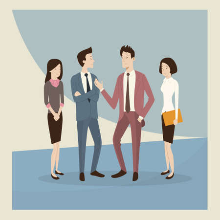 asian business people: Asian Business People Group Talk Retro Poster Flat Vector Illustration