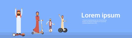 hover: Arab People Group Arabic Man Woman Ride Electric Hover Board, Scooter, Segway, Mono Wheel Modern Personal Transport Banner Copy Space Flat Vector Illustration