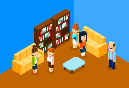 campus: People Group In Modern Business Office, University Students Interior Campus Vector Illustration