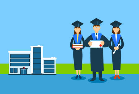 graduacion caricatura: Estudiante Traje de graduación grupo posean libro de papel Diploma sertificate, Universidad de fondo plano Buiding Ilustración del vector