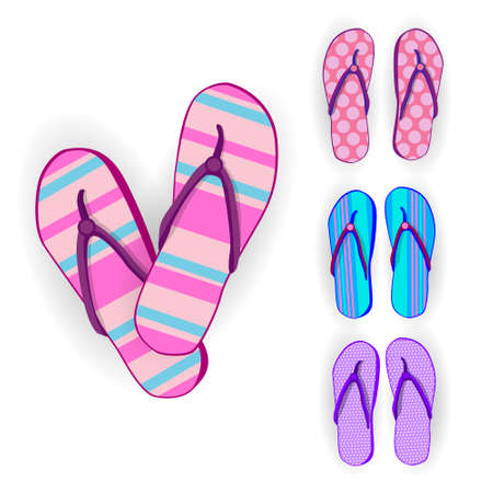 foot wear: Flip Flops Icon Summer Slippers Foot Wear Set Collection Flat Vector Illustration