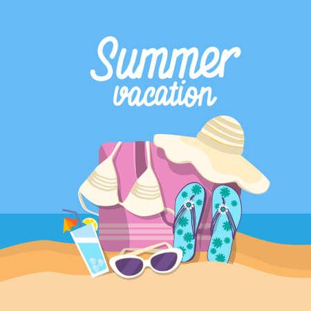 Summer Beach Vacation Set Sand Tropical Banner Flat Vector Illustration