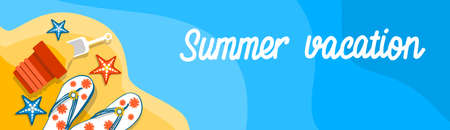 Summer Beach Vacation Set Sand Tropical Banner Flat Vector Illustration