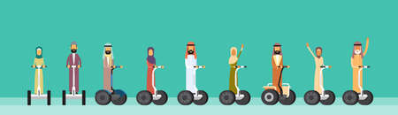 hover: Arab People Group Arabic Man Woman Ride Electric Hover Board, Scooter Mono Wheel Modern Personal Transport Banner Flat Vector Illustration