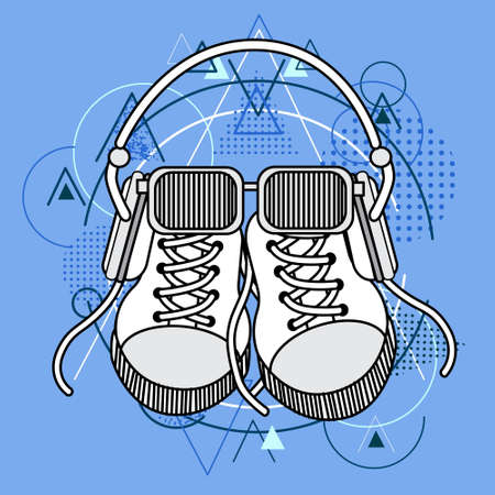 foot wear: Foot Wear Sneakers Shoes Glasses Headphones Over Triangle Geometric Background Flat Vector Illustration Illustration