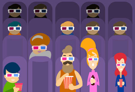 watching movie: People Group Watching Movie in Cinema 3d Glasses Flat Vector Illustration