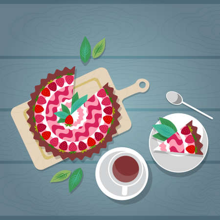 Cake Plate Cup Tea Coffee Wooden Textured Table Celebration Top Angle View Flat Vector Illustration