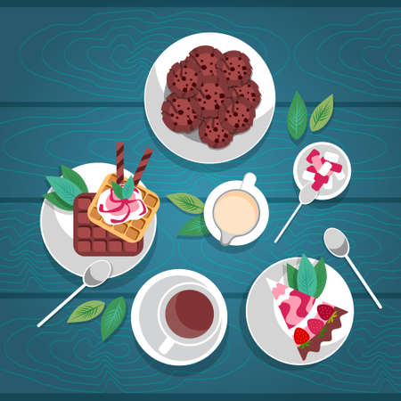 ice tea: Cake Biscuits Ice Cream Sweet Dessert Cup Tea Coffee Wooden Textured Table Celebration Top Angle View Flat Vector Illustration Illustration