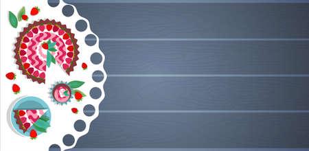 trozo de pastel: Pieza de pastel en un plato taza de té café Ilustración vector de madera con textura Banner Espacio en blanco Ángulo superior Vista Plana vectorial