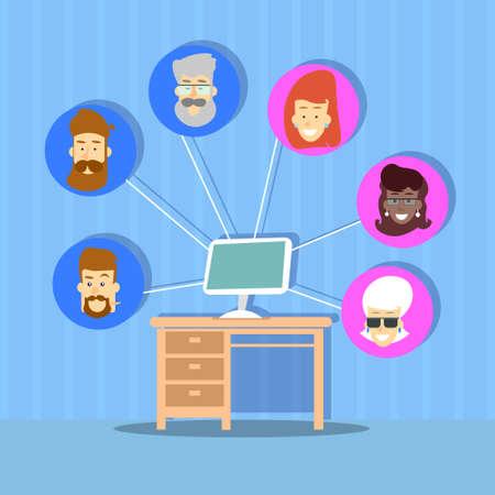 Computer Desktop Profile Icons Group Social Network Communication Connection Concept Flat Design Vector Illustration