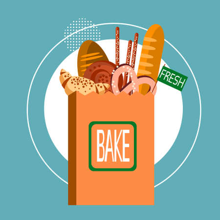 wholemeal: Shopping Bag With Fresh Bakery Pastry Cook Food Flat Vector Illustration Illustration