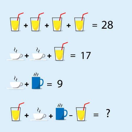 brain puzzle: Mathematical Addition Subtraction Puzzle Juice Glass Coffee Cup Trick Question Solve Flat Vector Illustration