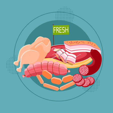 fresh meat: Fresh Meat Sausage Different Kind Goods Food Collection Flat Vector Illustration
