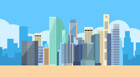 Big Modern City View Cityscape Skyline Vector Illustration Çizim