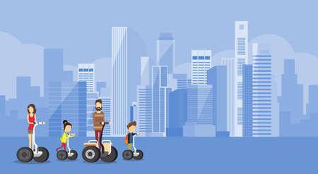 transport: Familie Ouders twee kinderen Ride Elektrische Scooter Moderne Transport Big City Flat Vector Illustration
