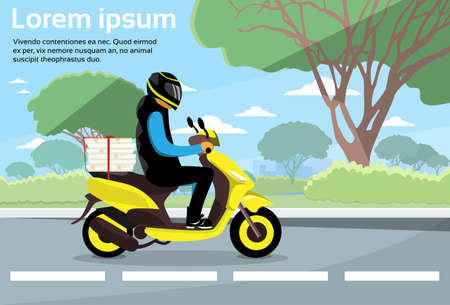 man outdoors: Delivery Man Ride Scooter Motorcycle Deliver Service Highway Flat Vector Illustration Illustration