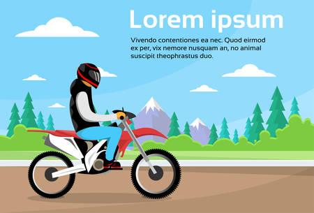 man outdoors: Man Ride Off Road Motor Bike, Sport Motocycle Over Nature Mountain Background Flat Vector Illustration Illustration