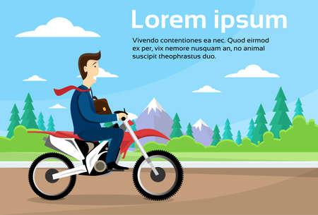 Business Man Ride Off Road Motor Bike, Sport Motocycle Over Nature Background Flat Vector Illustration