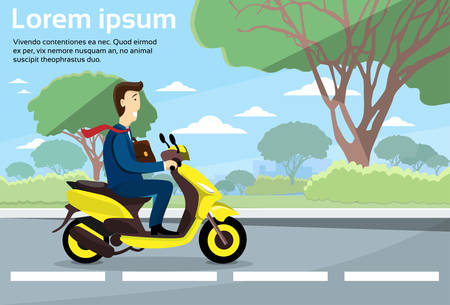 man outdoors: Business Man Ride Motorcycle Electric Scooter Copy Space Flat Vector Illustration
