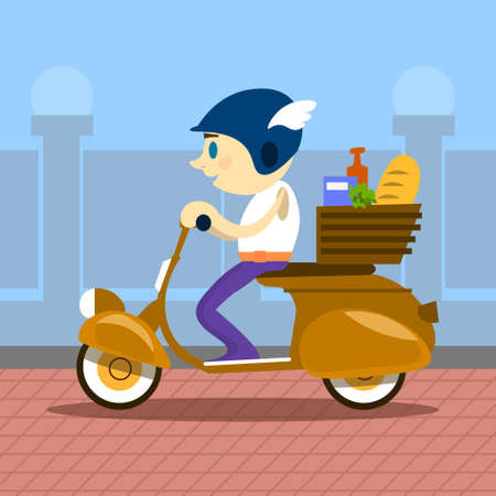 deliver: Man Ride Motorcycle Scooter Delivery Service Retro Transport Flat Vector Illustration Illustration
