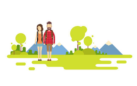 wanderer: Traveler Man Woman, Couple Outdoor Hiking Over Mountain Background Banner Copy Space Vector Illustration