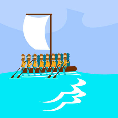 emigration: Migrant Crisis People Group Emigrant Hand Made Boat Sail In Sea Emigration Concept Flat Vector Illustration