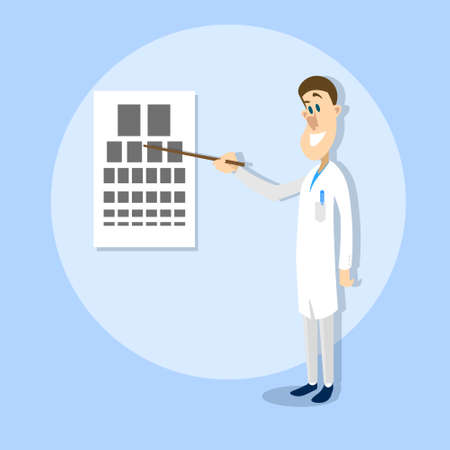ophthalmologist: Oculist Ophthalmologist Doctor Point Examination Table Visual Acuity Hospital Vector Illustration Illustration
