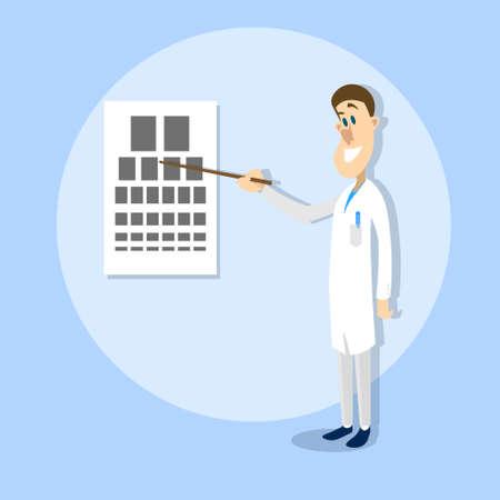 oculista: Oculista oftalmólogo doctor Point Mesa de examinación visual de la ilustración de la agudeza del Hospital vectorial
