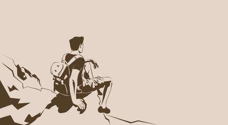 Traveler Sit On Cliff Rest Hiker Trekker Look To Empty Copy Space Vector Illustration