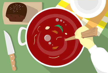 borscht: Cooking Borsch Ukrainian National Traditional Dish Hand Stir Red Soup Top Angle View Flat Vector Illustration