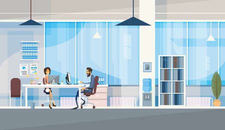 Creative Office Co-working Center Business People Sitting Desk Working Together Vector Illustration Çizim
