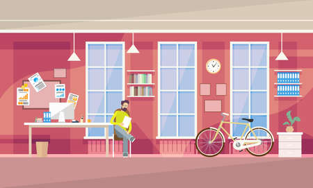 university campus: Creative Office Student Co-working Center Business Man Sitting University Campus Vector Illustration