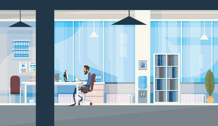 office space: Business Man Sitting Desk Working Computer Modern Office Interior Flat Vector Illustration