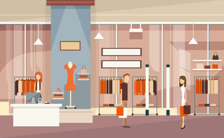 mall interior: Couple With Shopping Bags Luxury Fashion Shop Center Mall Interior Customers Flat Vector Illustration