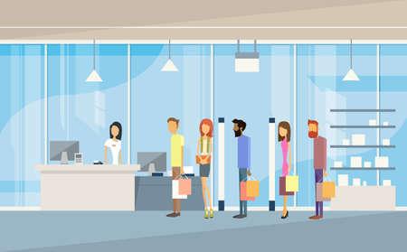 mujer en el supermercado: Compras con los bolsos personas Grupo Línea Efectivo Escritorio Centro Comercial Inter clientes plana ilustración vectorial