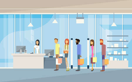 Shop People Group With Bags Line Cash Desk Shopping Mall Interior Customers Flat Vector Illustration Vettoriali