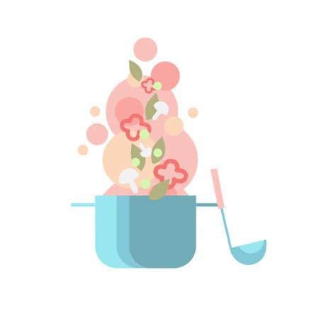 soup spoon: Cook Kitchen Pan Soup Ladle With Vegetables, Kitchen Spoon Flat Vector Illustration Illustration