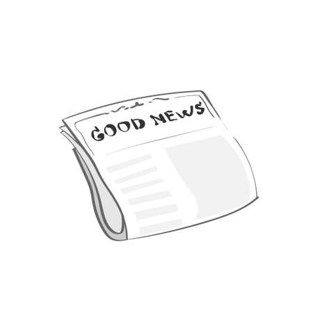 news reader: Newspaper Icon Simple Sketch Thin Line Style Good News Logo Vector Illustration