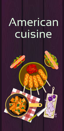american cuisine: Junk Fast Food American Cuisine Set Banner With Copy Space Flat Vector Illustration