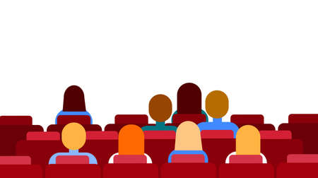 cinema screen: Cinema Hall Empty Screen With Copy Space People Group Sitting Watching Movie Flat Vector Illustration