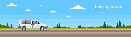 mini van: Mini Van Car On Road Banner Flat Vector Illustration