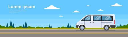 minibus: Mini Bus Passenger Car On Road Minibus Banner Flat Vector Illustration