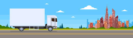 truckload: Truck Lorry Car On Road Cargo Shipping Delivery Banner Flat Vector Illustration