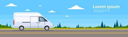 minivan: Commercial Van Car On Road Cargo Shipping Bus Delivery Banner Flat Vector Illustration
