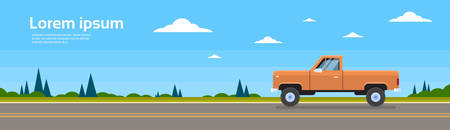 Pickup Car Truck On Road Banner With Copy Space Flat Vector Illustration