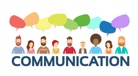 Casual People Group Chat Bubble Communication Social Network Flat Design Vector Illustration 矢量图像