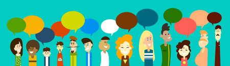 Mix-Rennen-Leute Gruppen-Chat-Blase Kommunikation Social Network Wohnung Design Vector Illustration