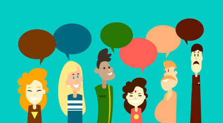 mix race: Mix Race People Group Chat Bubble Communication Social Network Flat Design Vector Illustration Illustration