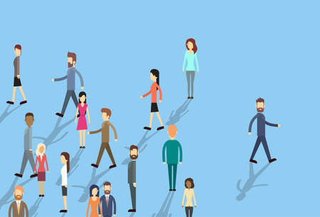Man Move Stand Out From Crowd Individual Business People Group Concept Flat Vector Illustration